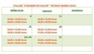 Curarse en Salud calendario enero del 2020